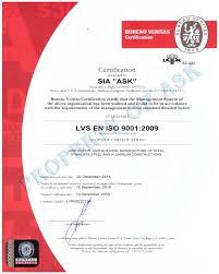 bureau veritas latvia certificates ask enterprise