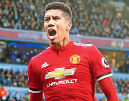 Man Uniteds Chris Smalling Celebrates Scoring A Goal Against City During An EPL Game Recently