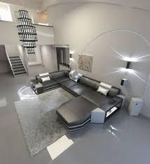 wohnlandschaft designersofa modern ragusa u form leder led sofa ottomane