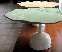 16 Rustic Cake Stand Ceramic Dish Cupcake Sage Green
