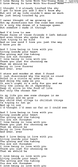 Love Song Lyrics for I Love Being In Love With You Diana Ross