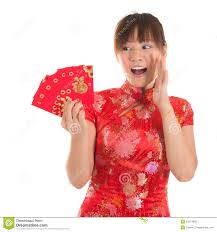 surprise chinese cheongsam holding red packets royalty free