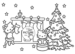 Christmas Hello Kitty Coloring Pages For Kids Printable Free In