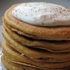 Krusteaz Pumpkin Pancakes by Pumpkin Pancakes With Nutmeg Whipped Cream Recipe Allrecipes Com