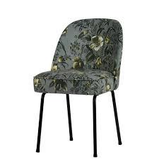 2er set esszimmerstühle mit grauem stoffbezug in grüner pflanzen musterung und schwarzen füßen