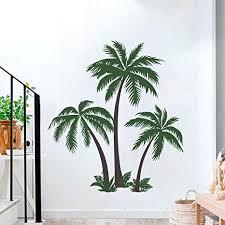 decalmile wandtattoo palme groß wandsticker tropen bäume wandaufkleber schlafzimmer wohnzimmer tv wand wanddeko h 123cm