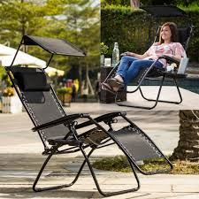 Details About Outdoor Chaise Lounge Beach Chair Set Folding Chairs With  Canopy 1 Pc Heavy Duty
