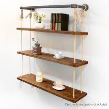 3 Level Rustic Rope Bookshelf Industrial Pipe And Wood Shelf Vintage Look Wall Wooden
