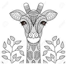 Zentangle Giraffe Head For Coloring Page Shirt Design And So Royalty Free