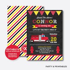 100 Fire Truck Birthday Party Invitations Chalkboard Kids Invitation Editable Instant