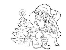 Santa And Kid Christmas Coloring Page
