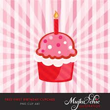 FREE FIRST BIRTHDAY CUPCAKE CLIPART 01