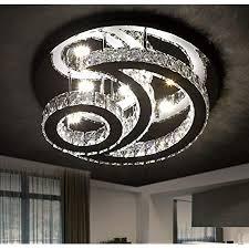 kristall le led deckenleuchte dimmbar mit fernbedienung runde modern mond design deckenle wohnzimmer decke leuchte schlafzimmer studierzimmer
