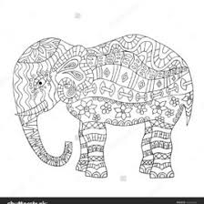 Hand Drawn Elephant Coloring Page Book For Adults