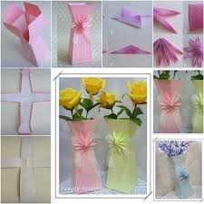 Diy Paper Flower Vase How To Make A Holder Origami An Bouquet Making Step By