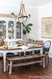 Beautiful French Dining Room With Classic Country Furniture Balanced By A Rustic Bench