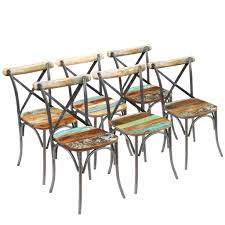 VidaXL Dining Chairs 6 Pcs Solid Reclaimed Wood 20