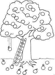 Apple Tree With Apples Falling To The Ground Coloring Page