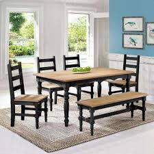 Jay 6 Piece Black Wash Solid Wood Dining Set With 1 Bench 4