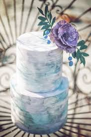 Bohemian Seaside Dream Wedding 2 Tier Watercolor Cake Beach Blue Ombre