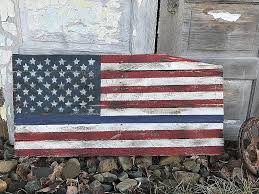 Rustic Wood Blue Line American Flag Pallet Wall Decor
