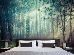 fototapete pinienwald luxusschlafzimmer wohnung