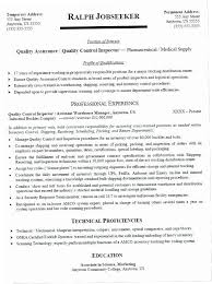 Quality Control Resume Sample PXXY Assurance Samples Examples