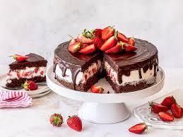 erdbeer schoko torte mit joghurt sahnecreme