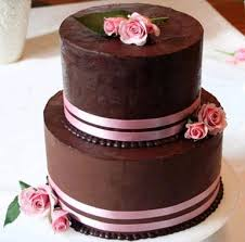 Romantic Pink Brown Cake Chic Chocolate N A Ribbon Roses Wedding