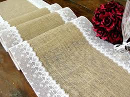Burlap Table Runner Wedding With White Floral Lace Vintage Inspired Rustic Chic Decor Handmade In The USA