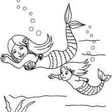 Clever Design Mermaid Coloring Pages On A Roc Mermaids Swimming To Color Page FANTASY
