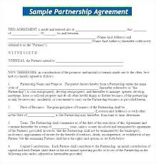 Partnership Agreement Template Word Business Format In Contract