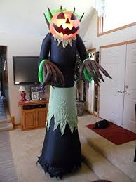 Airblown Inflatable Halloween Yard Decorations by 8 9 Ft Tall Large Fire U0026 Ice Lighted Jack O Lantern Pumpkin Man