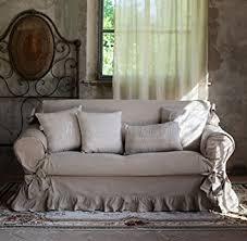 housse de canapé 2 places avec volants et noeuds shabby chic et