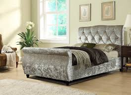 Velvet Super King Headboard by Mirage Sleigh Bed In Crushed Velvet 3 Colours In Double King And