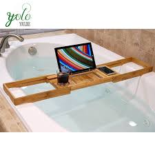Bamboo Bathtub Caddy With Reading Rack by Bamboo Bathtub Caddy Tray With Extending Sides Bamboo Reading Rack