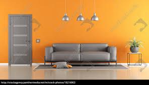 stock photo 19216903 gray and orange living room