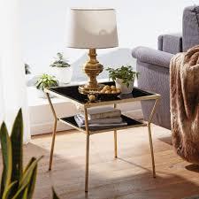 finebuy design couchtisch glas schwarz 50 x 50 cm 2 ebenen gold metallgestell wohnzimmertisch beistelltisch glastisch quadratisch