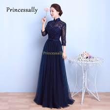 online get cheap long sleeve navy bridesmaid dress aliexpress com