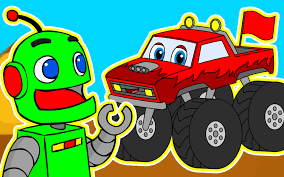Neon Green Robot Machine #7 | Red Monster Truck | Vehicles Learning ...