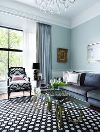Grey Light Blue Living Room Dramatic Chandelier Velvet Sofa Sheer Curtains Decorating Design Ideas