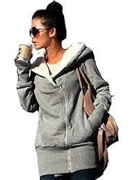 newfacelook women u0027s ladies double zip fur sweatshirt casual