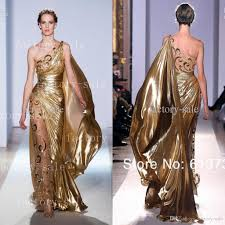 2017 one shoulder gold pageant gowns zuhair murad haute