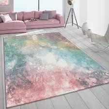 details zu teppich wohnzimmer modern in bunt rosa mint grün türkis pastell muster