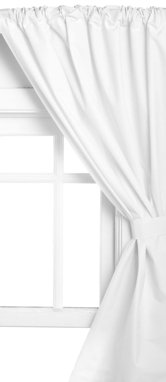 Carnation Home Fashions Vinyl Window Curtain in White