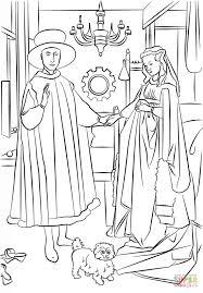 The Arnolfini Portrait By Jan Van Eyck Coloring Page