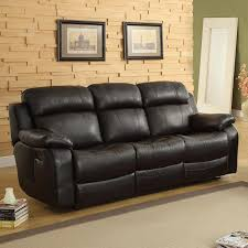 weston home darrin leather reclining sofa with console black