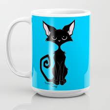 100 Cool Blue Design Black Cat Coffee Mug