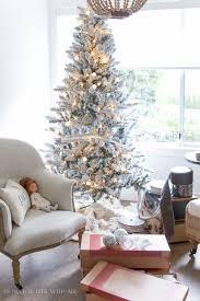Slim Pre Lit Christmas Trees by Christmas Flocked Utica Slim Christmas Tree White Walmartflocked