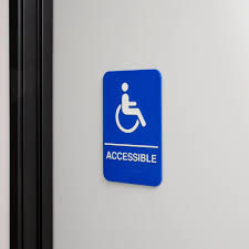 Printable Handicap Bathroom Signs by Ada Handicap Accessible Sign With Braille Blue And White 9